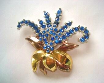 Blue Rhinestone Flower Brooch