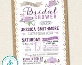 Bridal Shower Invitation - Burlap and Lace Flower Invitation
