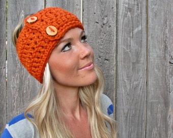 Lamb's Wool Wrap Headband Hair Accessory Band Fashion Neckwarmer Scarf In Pumpkin w/ Reclaimed Wood Buttons Adjustable Girl Woman Boy Men