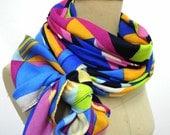 Colorful Gorgeous Big Shawl, Geometric scarf , early Autumn.Unisex, Gift, Square,