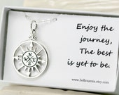 Compass Necklace - Sterling Silver - Enjoy The Journey The Best Is Yet To Be - Graduation Gift - Friendship Necklace - Journey Necklace
