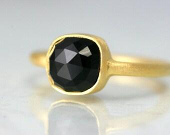 Gold Black Onyx Ring - Black Gemstone Ring - Cushion Cut Gold Ring - Minimalist Black Ring - Cushion Black Ring - Minimal Gold Black Ring