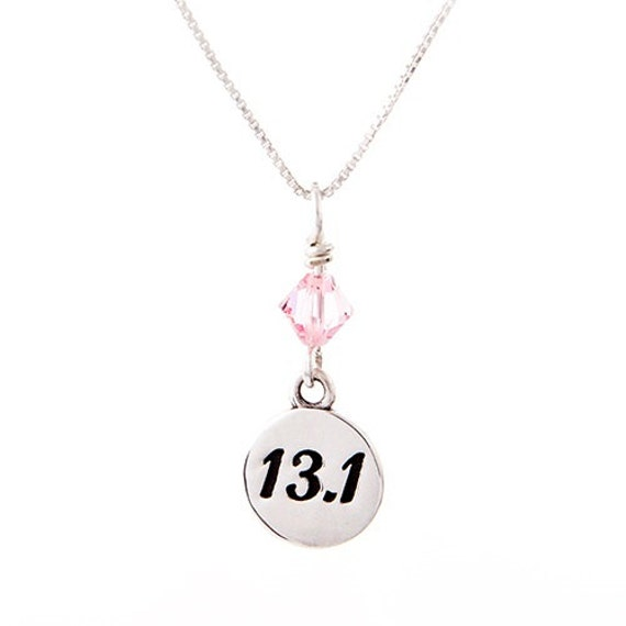 13 1 half marathon necklace running jewelry gift for