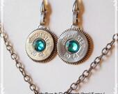 silver, original rodeo queen, re-purposed shotgun shell earrings, swarovski teal crystal earrings