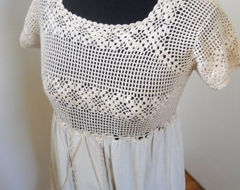 1970s Knit Muslin Maxi Dress Sz M