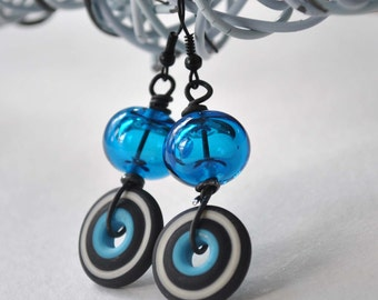 Blue Glass Earrings - Hollow Glass Bead Earrings - Lampwork Earrings, Disc Earrings