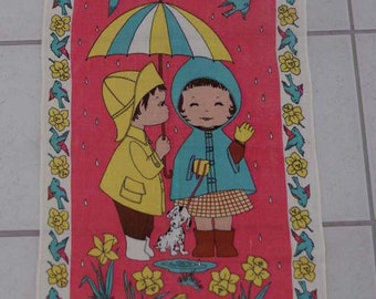 Vintage Ulster Irish Linen Kitchen Towel Good Friends Raindrops April Showers