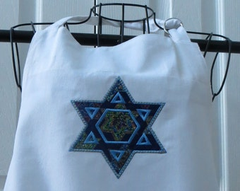 White Apron with Appliqued Star of David with Stained Glass Star of David fabric  Apron was Purchased
