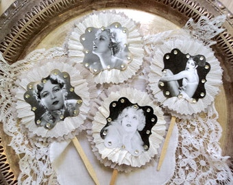 Frilly Flappers. Six Black and Cream 1920's Girl Toppers