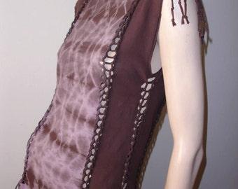 shredded braided womens tshirt. size small/medium. brown and lavender tiedye shredded tshirt. mens xs/small