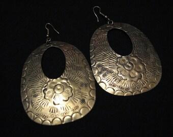HUGE Vintage Tribal Oval Brass Etched Flower Dangle Pierced Earrings