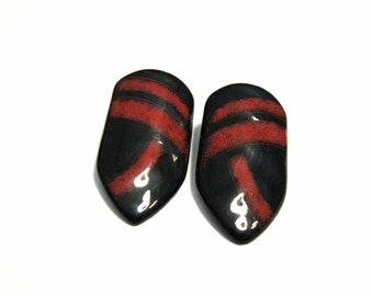 BIG Vintage Red and Black Enameled Lucite Shield Pierced Earrings