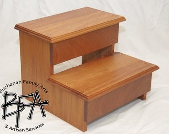 XL Adult Size Step Stool Mahogany Hardwood WOOD   Kitchen Pantry Closet Bed  Bathroom   Great