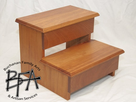 xl adult size step stool mahogany hardwood wood kitchen. Black Bedroom Furniture Sets. Home Design Ideas