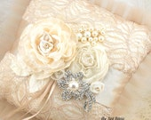 Ring Bearer Pillow, Bridal, Wedding, Champagne, Tan, Beige, Cream, Ivory, Lace, Brooch, Crystals, Pearls, Tulle, Vintage Wedding