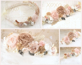 Crown, Headband, Halo, Jeweled, Bridal, Flower Girl, Blush, Tan, Beige, Champagne, Ivory, Lace, Pearls, Crystals, Romantic, Vintage Wedding