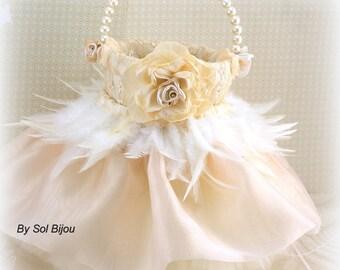 Flower Girl Basket, Tan, Champagne, Ivory, Gold, Tutu Basket, Feather Basket, Elegant, Vintage Style, Gatsby, Pearls, Tulle, Lace Basket