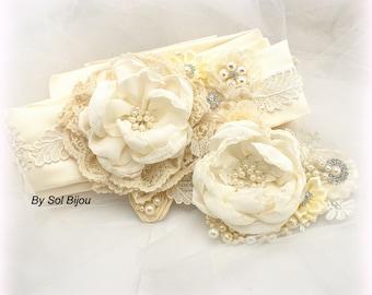 Sash, Hair Clip, Ivory, Cream, Elegant Wedding, Bridal, Fascinator, Birdcage, Satin, Lace, Pearls, Crystals, Vintage Style, Gatsby Style
