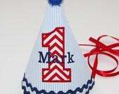 """Boys 1st Birthday Hat, Boy's Birthday Hat, Birthday Hat, Red Chevron Birthday Hat -  The """"Mark"""""""