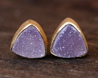 Sparkly Pink Druzy Earrings - Pyramid Studs - Geometric Stud Earrings