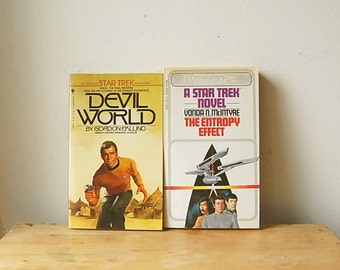 Vintage Pair of Paperback 1980s Star Trek Original Series Books The Entropy Effect and Devil World with Spock and Kirk