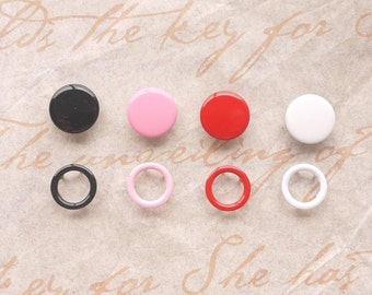 50 sets, Mixed Colors (4 Colors) Capped and Open Prong Snap Button, Size 14L/13L (8.5/8 mm)