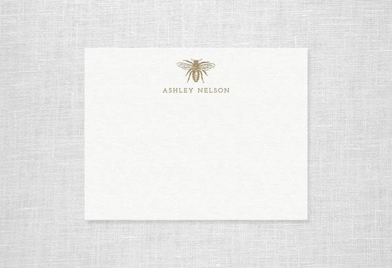 Custom Letterpress Bee Stationery - Personalized Set of 25 Notes