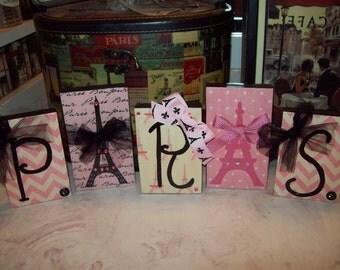 Pink chevron PARIS letter blocks,Eiffel Tower,Paris decor,Paris theme,Paris party decor,Paris wedding shower,Paris girls room,Paris bedroom