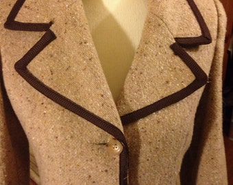 Vintage 1960's Tan Brown Tweed Princess Coat
