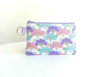 Pastel Flower Garden Zippered Bag / Coin Purse / ID Case / Gadget Pouch with Split Ring - Ready to Ship