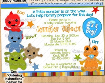 Little Baby Monster Baby Shower Invitations boys monsters blue green red CustomMade-to-Order Personalized Printable DIGITAL INVITATION #165