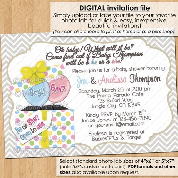 Gift Box Baby Shower Invitations : Gender reveal baby shower invitations he or she boy by
