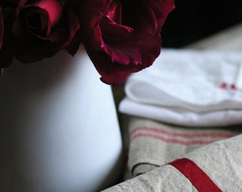 SALE roses and linen 5x7 photograph