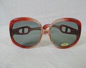 Jasmin VI vintage sunglasses. 1970's huge fly screen / bug eye frames dark gray tinted glass lens glasses.  deadstock.