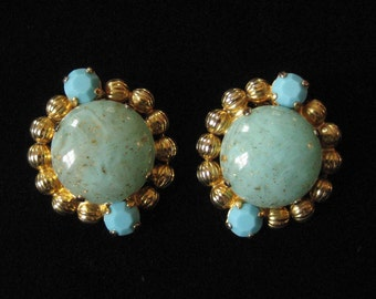 Turquoise and Aqua Gold Flaked Art Glass Ball Chain Earrings Possible D&E