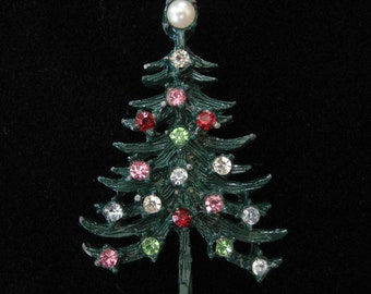 Green Enamel Christmas Tree Brooch