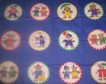 Bear of the Month Nursery / Birthday Quilt Fabric Panel