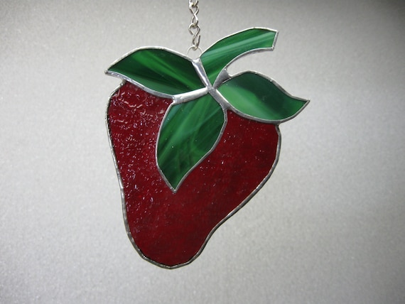 Strawberry Stained Glass Suncatcher