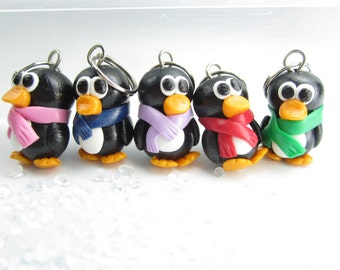 Cute Penguin Knitting Stitch Markers (Set of 5) polymer clay penguin charms knit