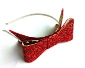 SALE Lined glitter bow headband - choice of colours