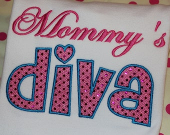 Mommy's Diva or Daddy's Diva tshirt or ruffle dress- you pick fabric