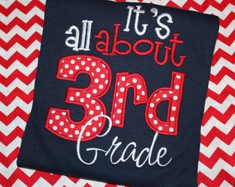 It's all about 3rd grade- school teacher shirt- can change number- adult or kids shirt