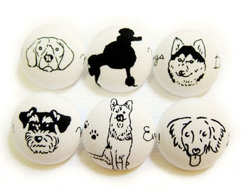 Sewing Buttons / Fabric Buttons - 6 Large Fabric Buttons Set - Dog Buttons