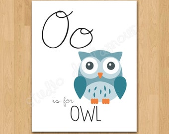 """PRINTABLE PDF Instant Download """"Oo is for Owl"""" Print"""