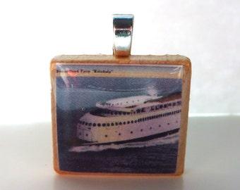 Puget Sound Art Deco Ferry Kalakala -  vintage postcard Scrabble tile pendant