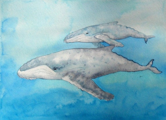 Humpback whale with calf, original watercolor