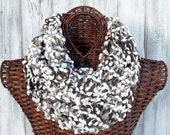 SALE Knitted cowl in dark brown and grey with white pom texture