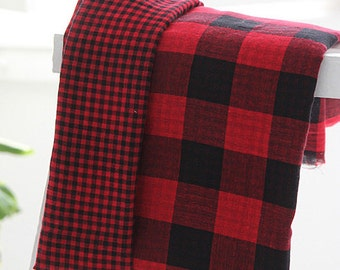 Red Reverse Check Double Gauze Wide 144cm, U205