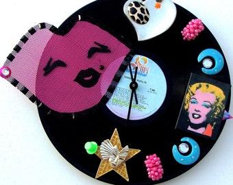 "MARILYN MONROE Clock Diamonds Are A Girls Best Friend, Rare French Release 12"" Vinyl LP,  Pink, Black, Aqua,  Andy Warhol, Blond Bombshell"