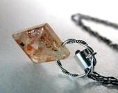 Sunstone Necklace, Orange Sunstone Necklace, Black Sterling Silver, Natural Sunstone Necklace - Inca Sun